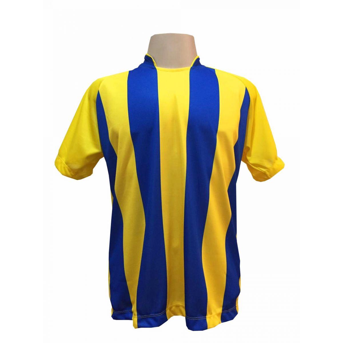 Fardamento Completo modelo Milan 18+1 (18 Camisas Amarelo/Royal + 18 Calções Amarelo/Royal + 18 Pares de Meiões Royal + 1 Conjunto de Goleiro) + Brindes