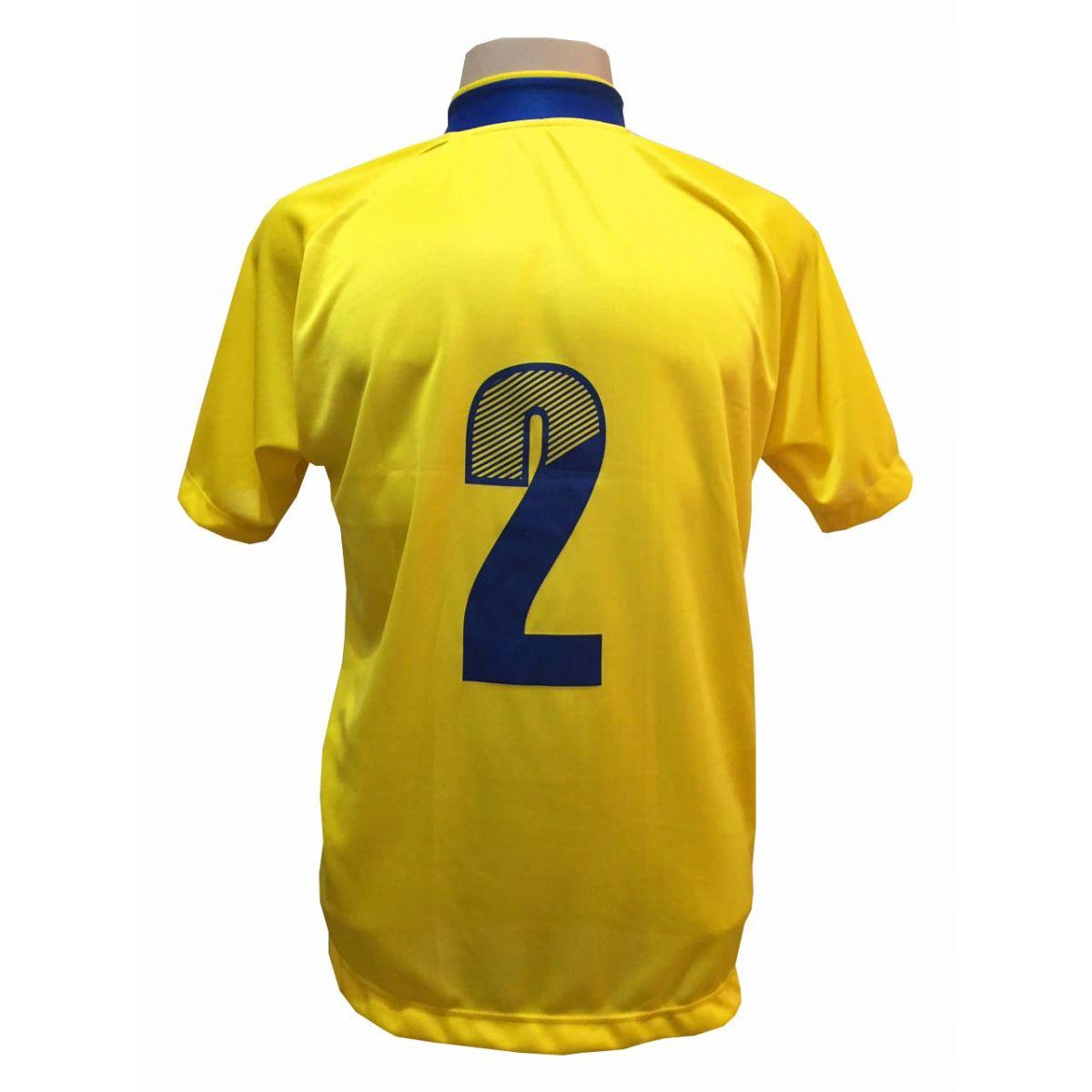 Fardamento Completo modelo Milan 18+2 (18 Camisas Amarelo/Royal + 18 Calções Madrid Amarelo + 18 Pares de Meiões Royal + 2 Conjuntos de Goleiro) + Brindes