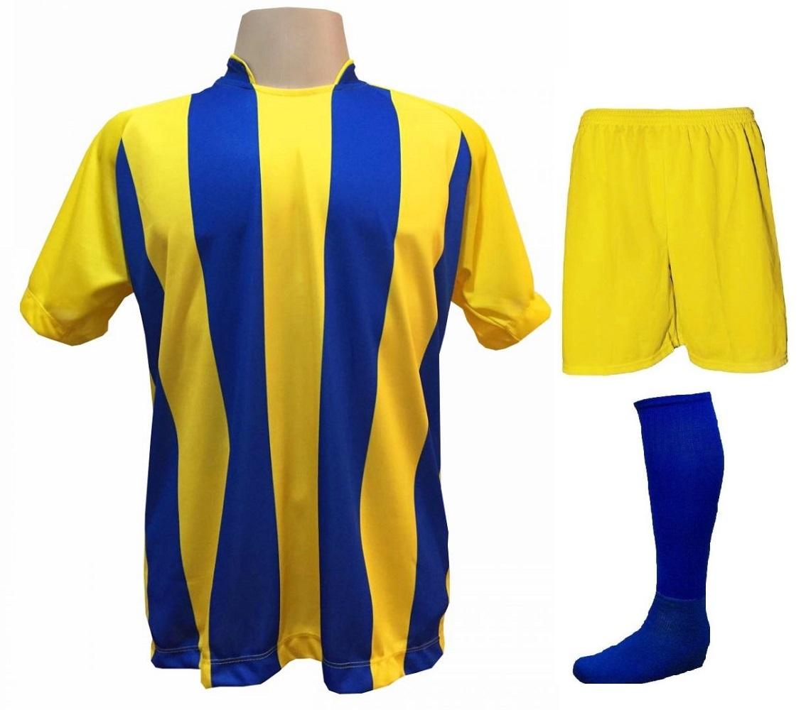 Fardamento Completo modelo Milan Amarelo/Royal 12+1 (12 camisas + 12 calções + 13 pares de meiões + 1 conjunto de goleiro) - Frete Grátis Brasil + Brindes