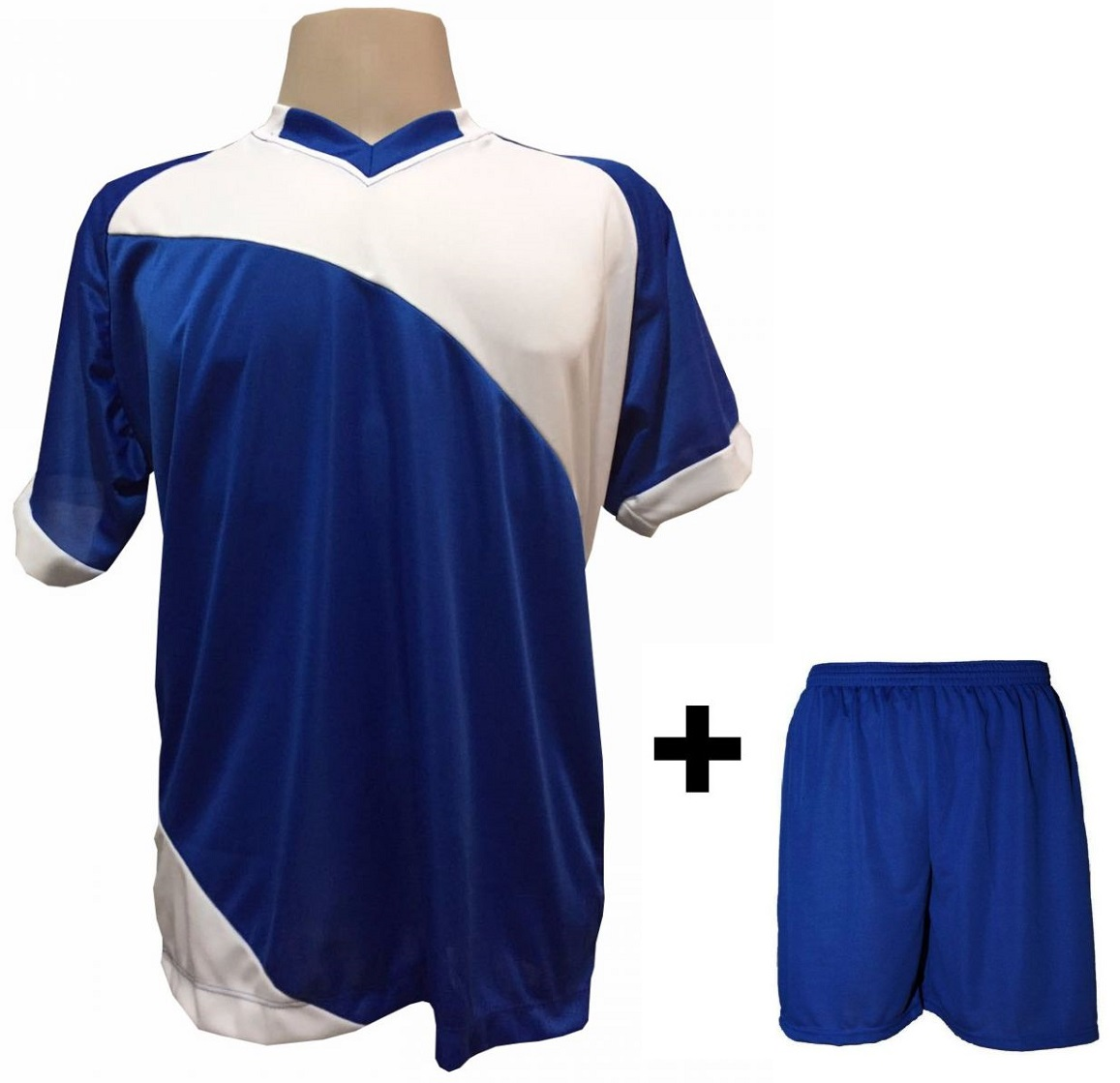 Uniforme Esportivo com 20 camisas modelo Bélgica Royal/Branco + 20 calções modelo Madrid + 1 Goleiro + Brindes