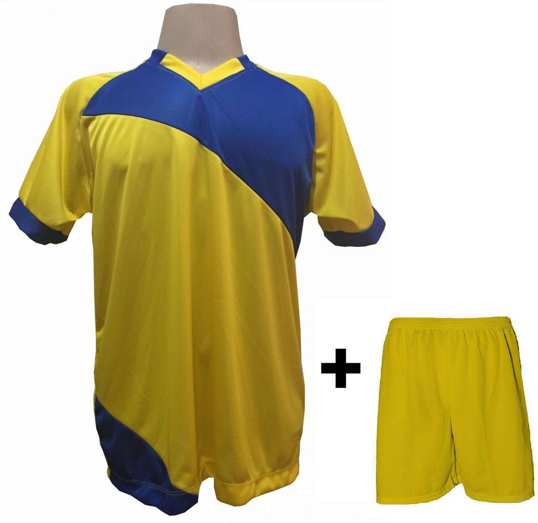 Uniforme Esportivo com 20 camisas modelo Bélgica Amarelo/Royal + 20 calções modelo Madrid Amarelo + Brindes