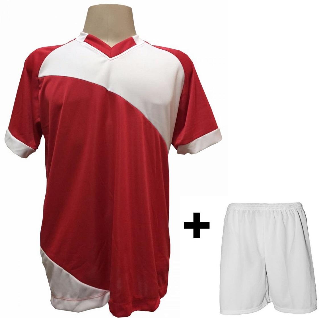 Uniforme Esportivo com 20 camisas modelo Bélgica Vermelho/Branco + 20 calções modelo Madrid Branco + Brindes