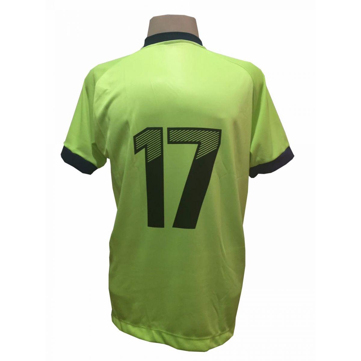 Uniforme Esportivo com 20 camisas modelo Bélgica Limão/Marinho + 20 calções modelo Madrid Marinho + Brindes