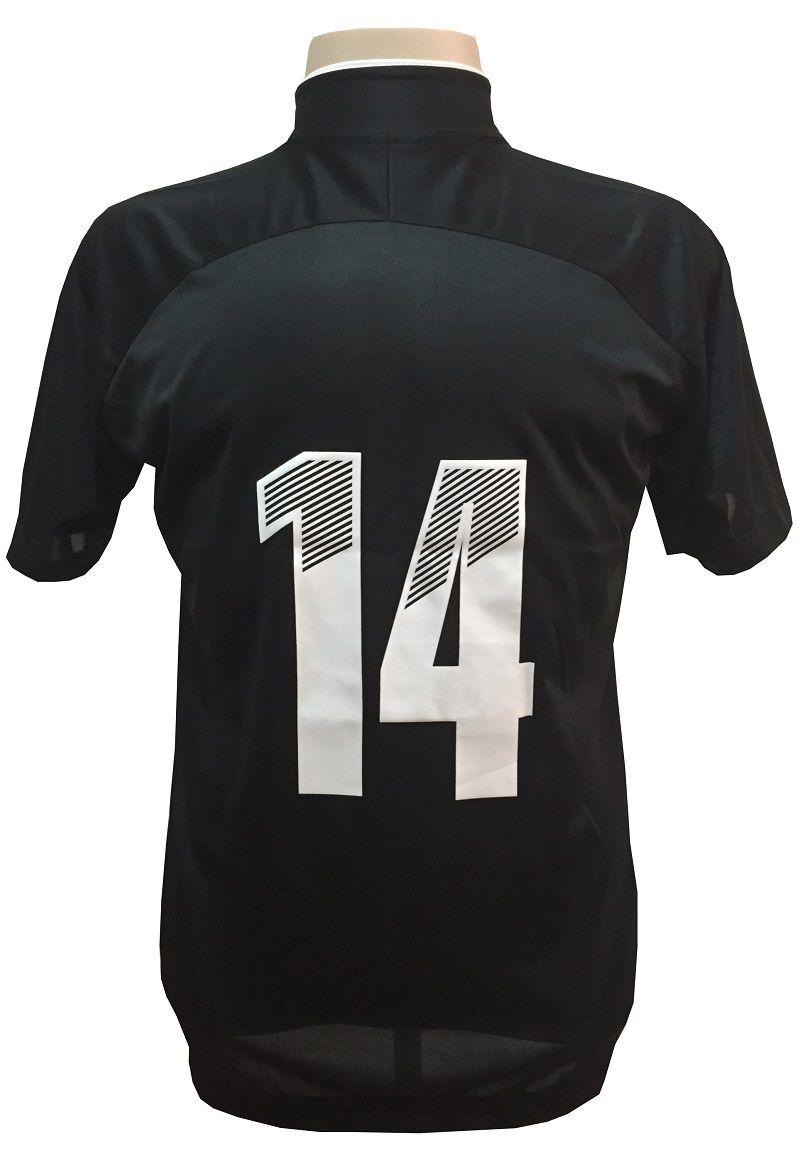 Fardamento Completo modelo City 18+2 (18 Camisas Preto/Branco + 18 Calções Madrid Branco + 18 Pares de Meiões Brancos + 2 Conjuntos de Goleiro) + Brindes