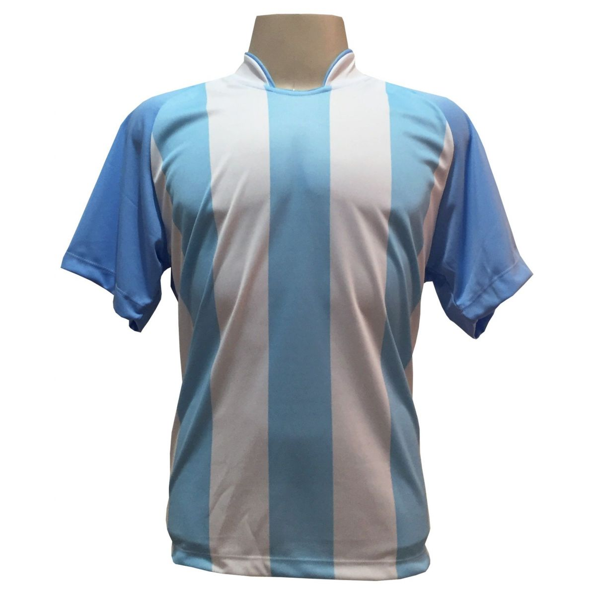 Uniforme Esportivo com 20 camisas modelo Milan Celeste/Branco + 20 calções modelo Copa Preto/Branco + Brindes