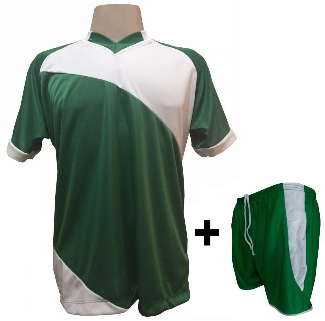 Uniforme Esportivo com 20 camisas modelo Bélgica Verde/Branco + 20 calções modelo Copa + 1 Goleiro + Brindes
