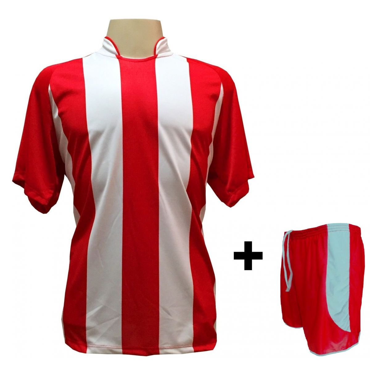 Uniforme Esportivo com 20 camisas modelo Milan Vermelho/Branco + 20 calções modelo Copa + 1 Goleiro + Brindes