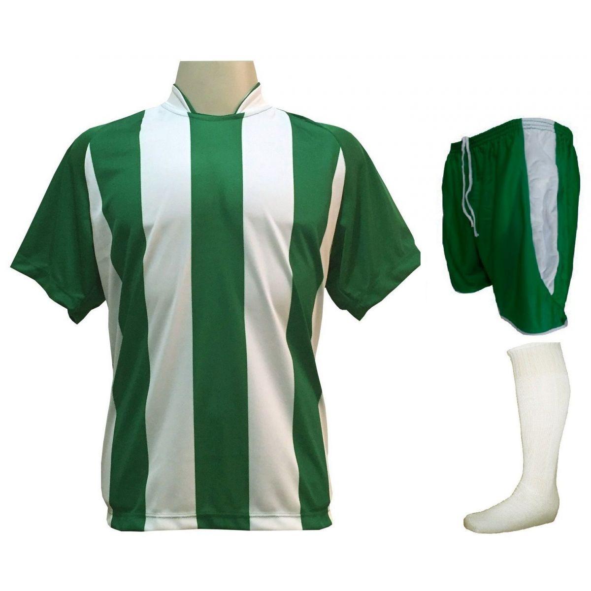 Fardamento Completo modelo Milan 20+1 (20 camisas Verde/Branco + 20 calções modelo Copa Verde/Branco + 20 pares de meiões Branco + 1 conjunto de goleiro) + Brindes