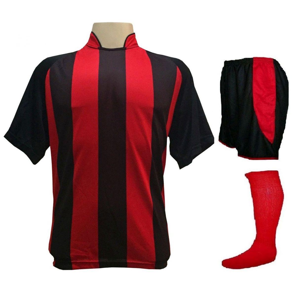 Fardamento Completo modelo Milan 20+1 (20 camisas Preto/Vermelho + 20 calções modelo Copa Preto/Vermelho + 20 pares de meiões Vermelho + 1 conjunto de goleiro)  + Brindes