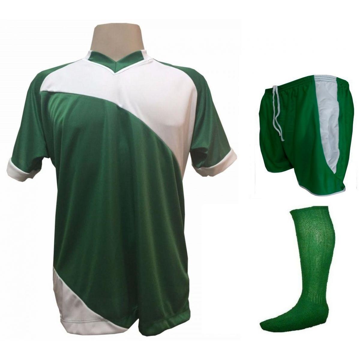 Fardamento Completo modelo Bélgica 20+1 (20 camisas Verde/Branco + 20 calções modelo Copa Verde/Branco + 20 pares de meiões Verde + 1 conjunto de goleiro) + Brindes