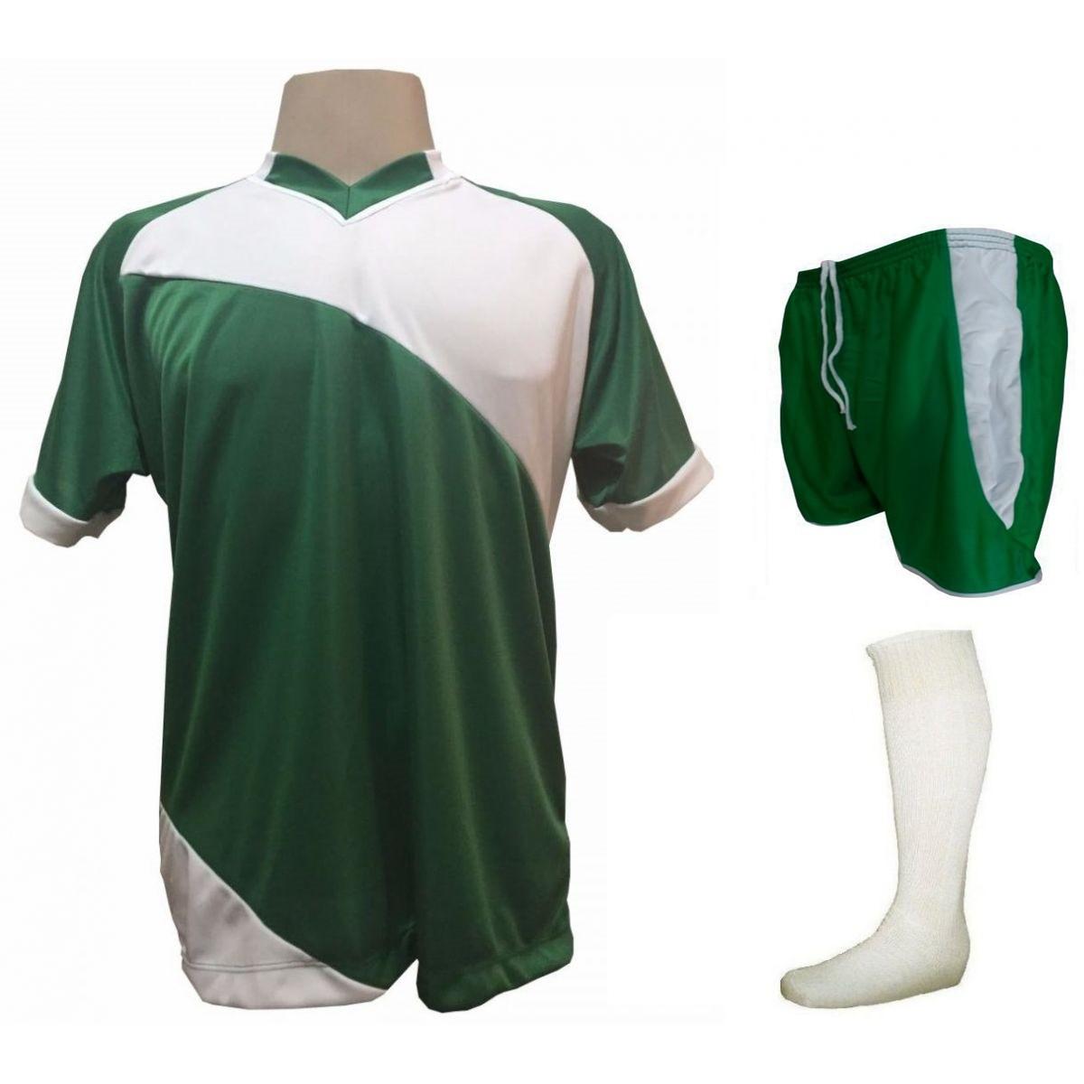 Fardamento Completo modelo Bélgica 20+1 (20 camisas Verde/Branco + 20 calções modelo Copa Verde/Branco + 20 pares de meiões Branco + 1 conjunto de goleiro) + Brindes