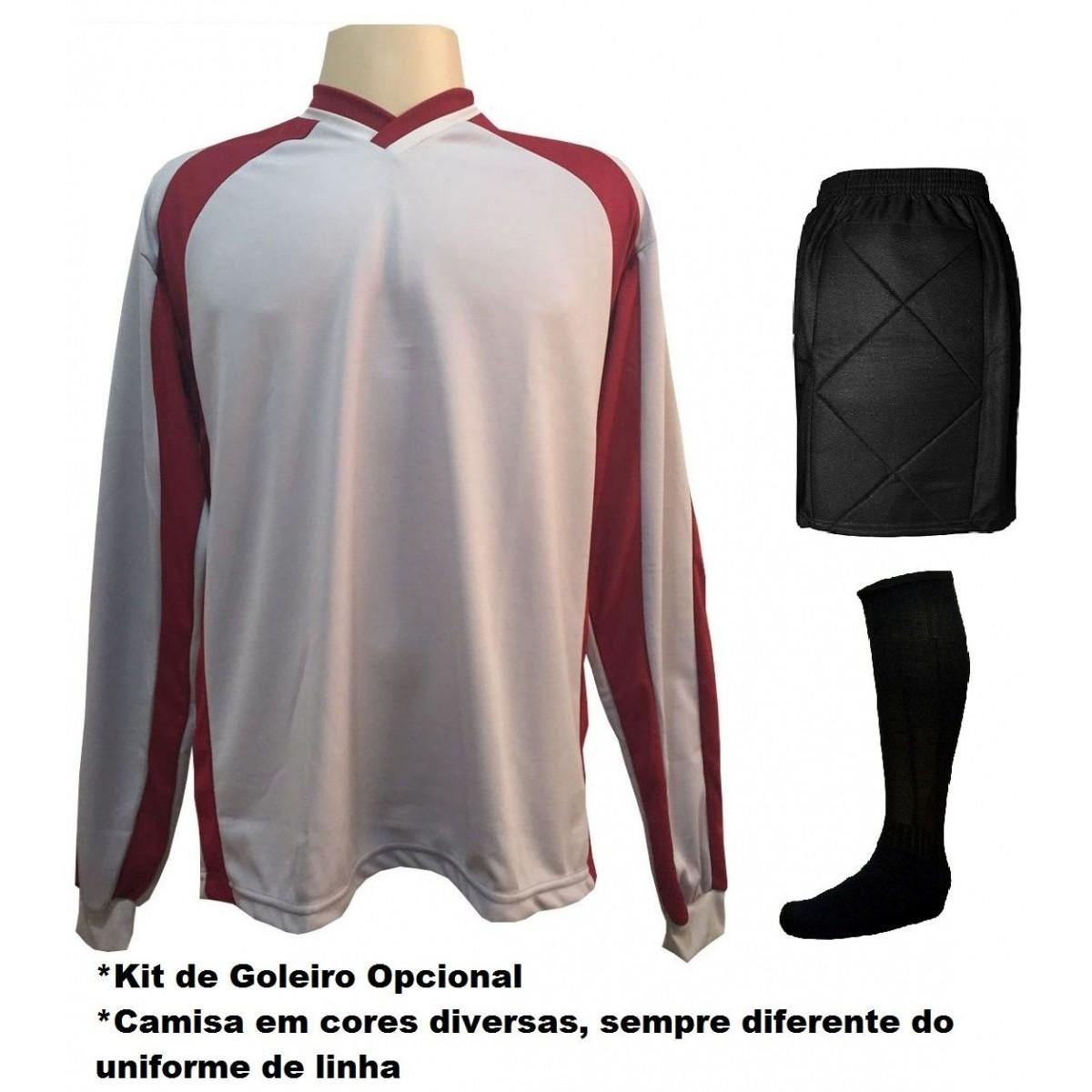 Fardamento Completo modelo Bélgica 20+1 (20 camisas Royal/Branco + 20 calções modelo Copa Royal/Branco + 20 pares de meiões Royal + 1 conjunto de goleiro) + Brindes