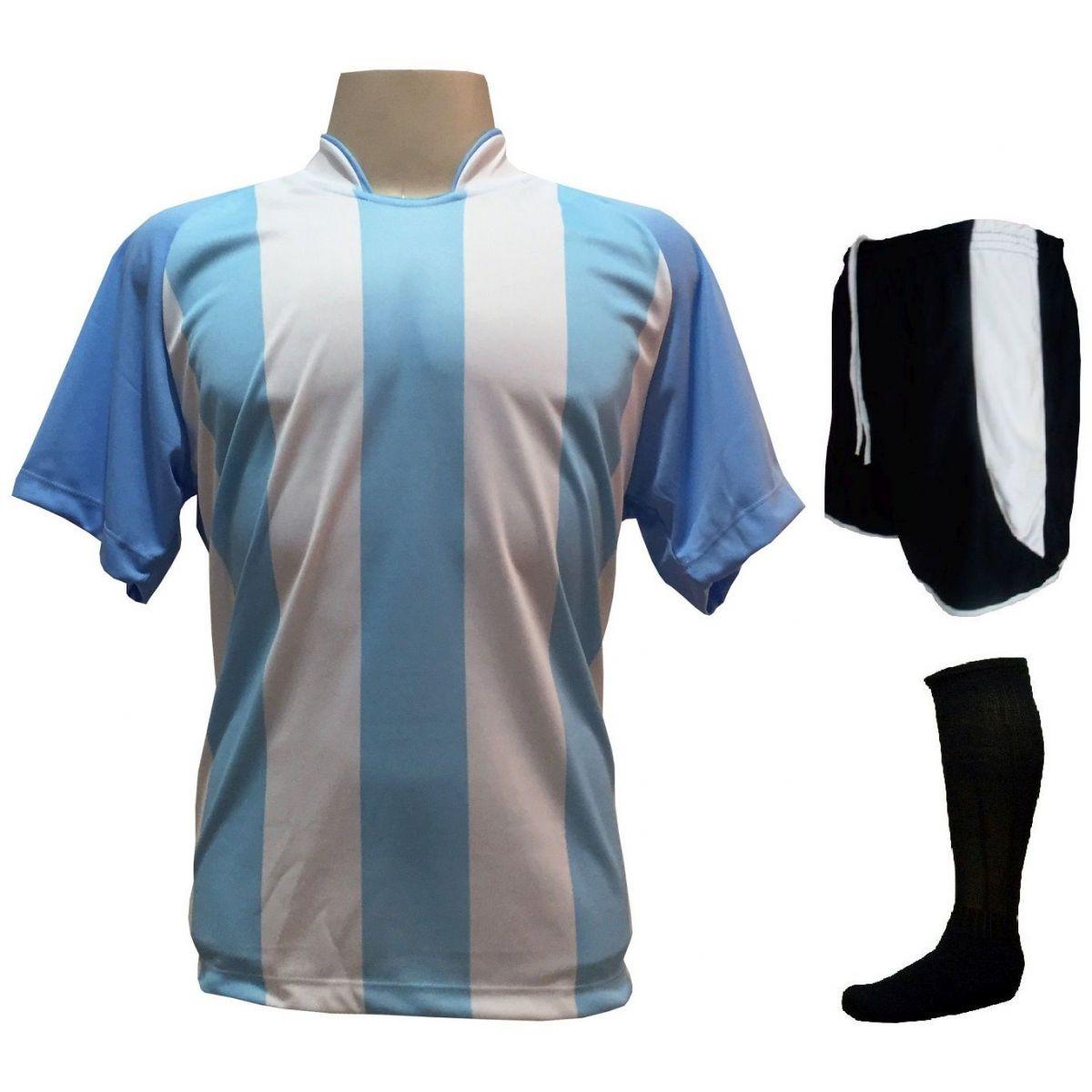 Fardamento Completo modelo Milan 20+1 (20 camisas Celeste/Branco + 20 calções modelo Copa Preto/Branco + 20 pares de meiões Preto + 1 conjunto de goleiro) + Brindes