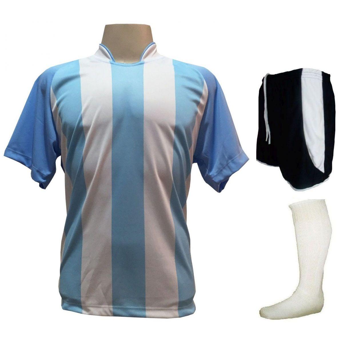 Fardamento Completo modelo Milan 20+1 (20 camisas Celeste/Branco + 20 calções modelo Copa Preto/Branco + 20 pares de meiões Branco + 1 conjunto de goleiro) + Brindes