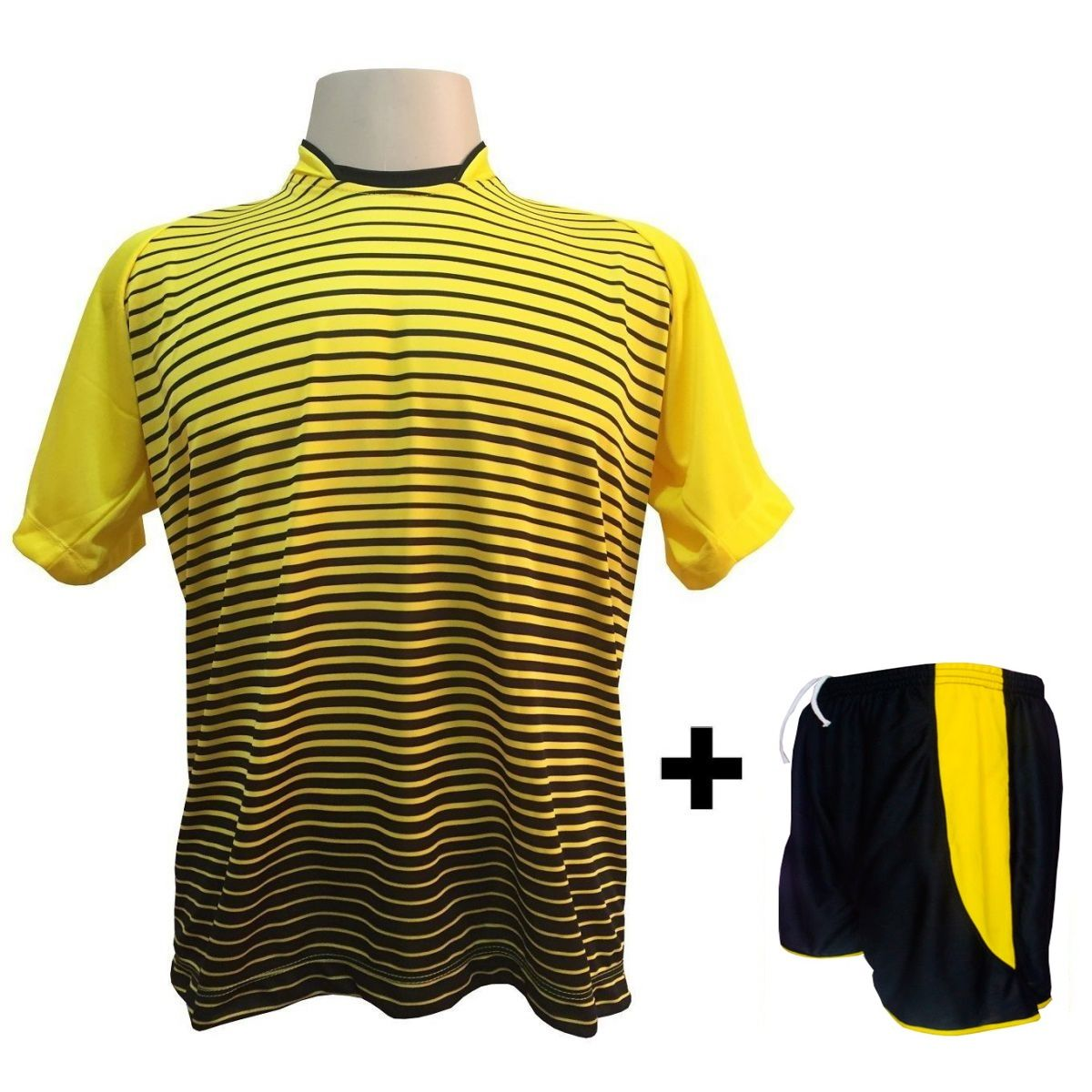 Uniforme Esportivo com 18 camisas modelo City Amarelo/Preto + 18 calções modelo Copa Preto/Amarelo + Brindes