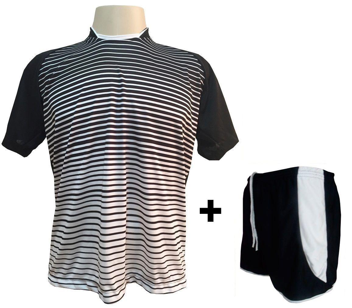 Uniforme Esportivo com 18 camisas modelo City Preto/Branco + 18 calções modelo Copa Preto/Branco + Brindes