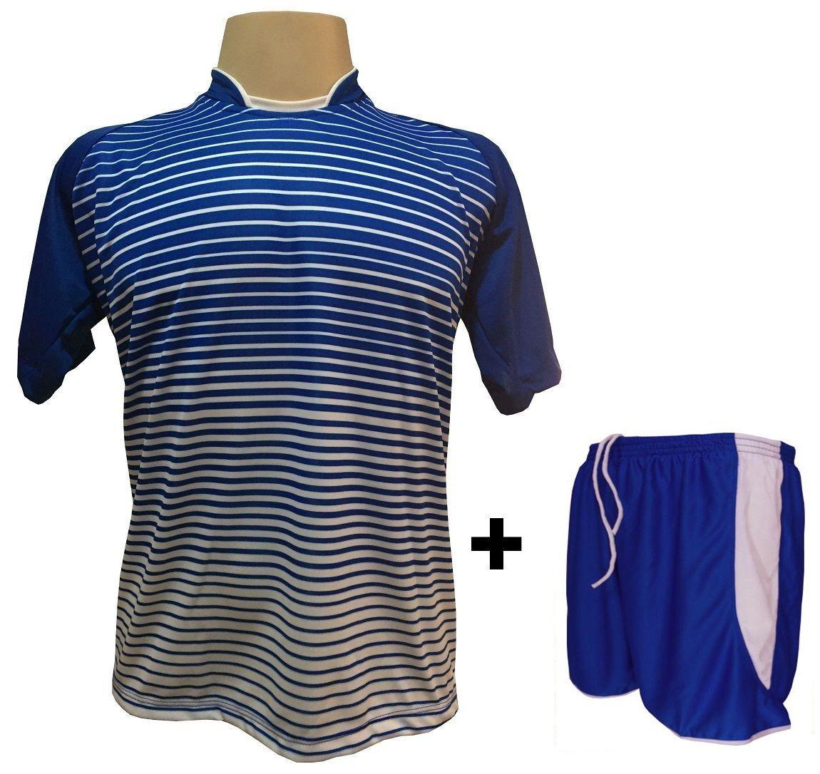 Uniforme Esportivo com 18 camisas modelo City Royal/Branco + 18 calções modelo Copa Royal/Branco + Brindes