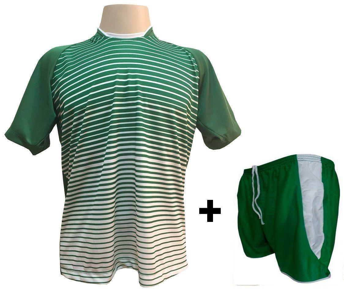 Uniforme Esportivo com 18 camisas modelo City Verde/Branco + 18 calções modelo Copa Verde/Branco + Brindes