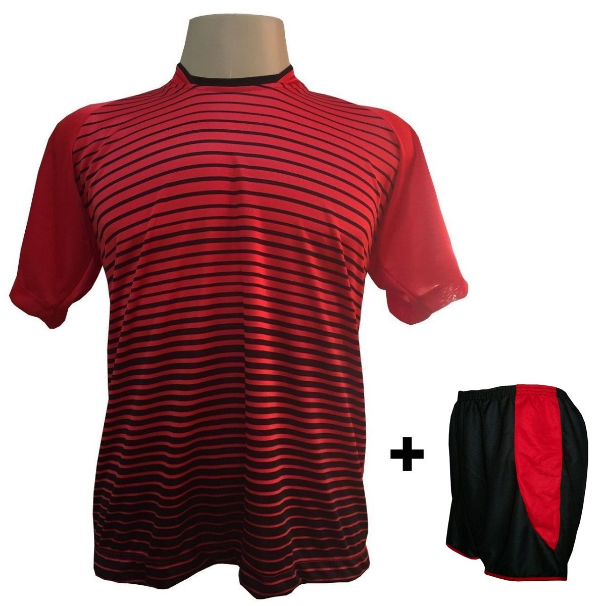 Uniforme Esportivo com 18 camisas modelo City Vermelho/Preto + 18 calções modelo Copa Preto/Vermelho + Brindes
