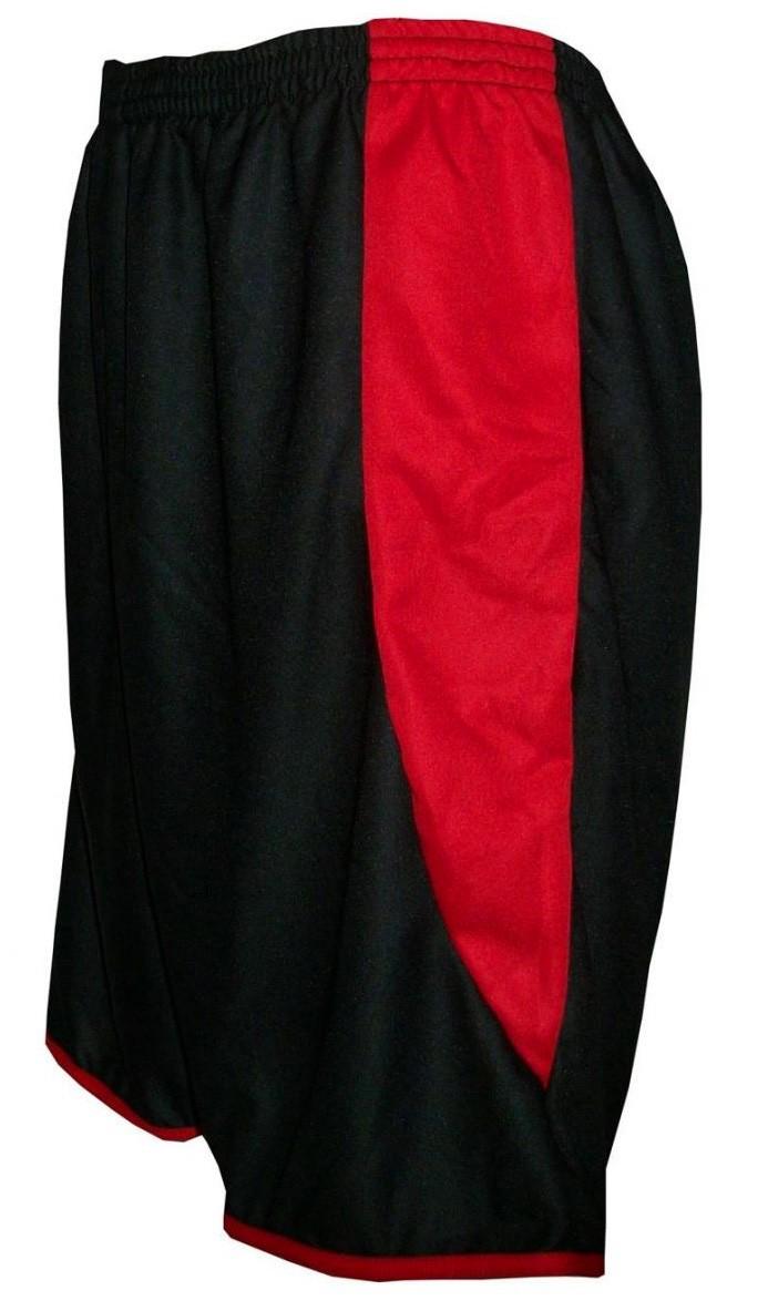 Uniforme Esportivo com 12 camisas modelo City Vermelho/Preto + 12 calções modelo Copa + 1 Goleiro + Brindes