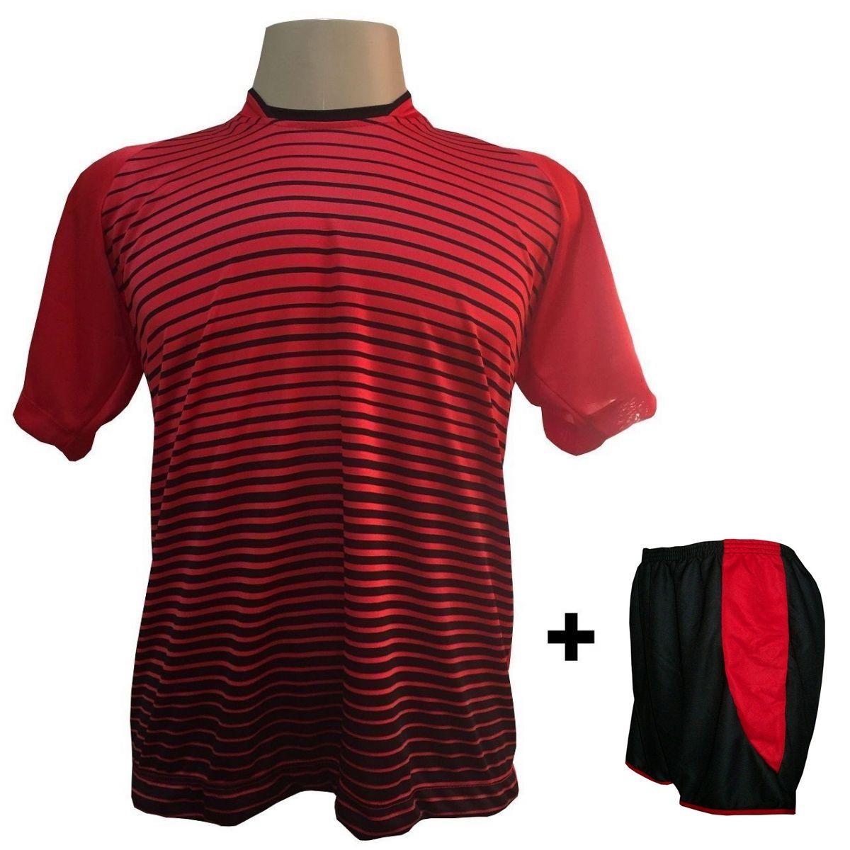 Uniforme Esportivo com 18 camisas modelo City Vermelho/Preto + 18 calções modelo Copa + 1 Goleiro + Brindes