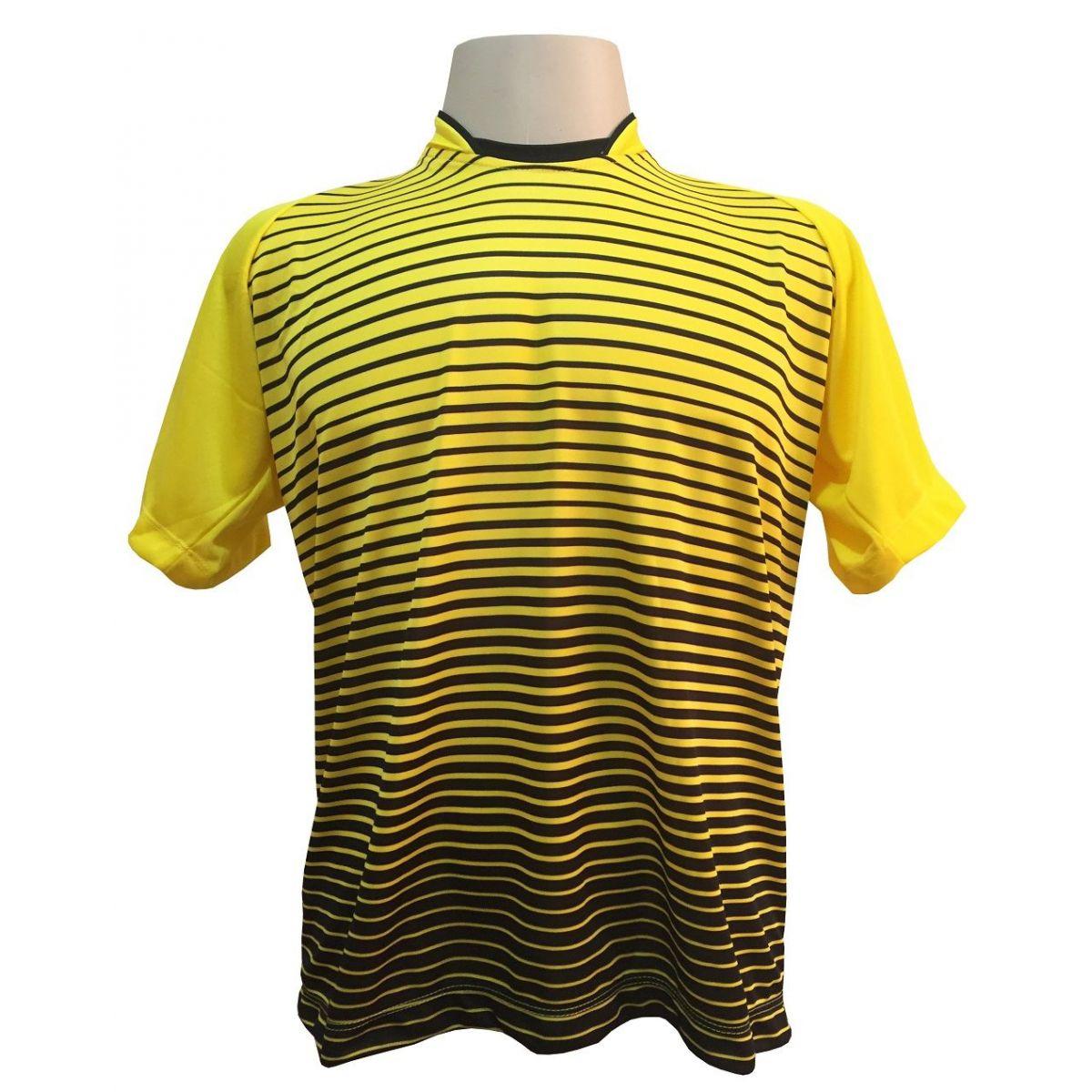 Fardamento Completo modelo City 12+1 (12 Camisas Amarelo/Preto + 12 Calções Copa Preto/Amarelo + 12 Pares de Meiões Pretos + 1 Conjunto de Goleiro) + Brindes