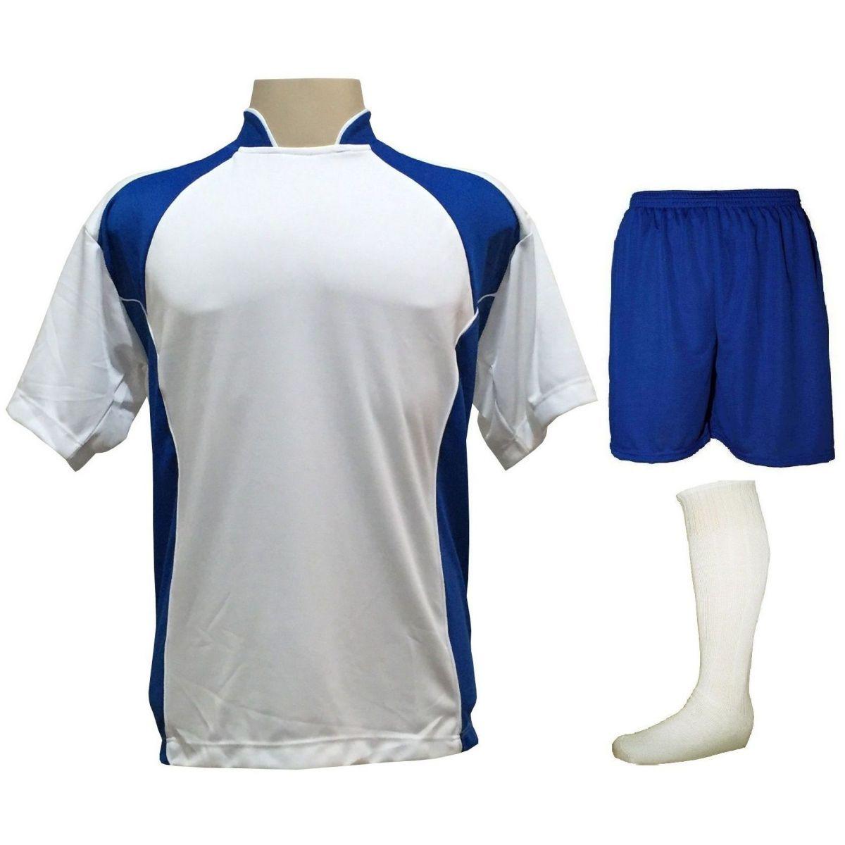 Uniforme Esportivo Completo modelo Suécia 14+1 (14 camisas Branco/Royal + 14 calções Madrid Royal + 14 pares de meiões Brancos + 1 conjunto de goleiro) + Brindes