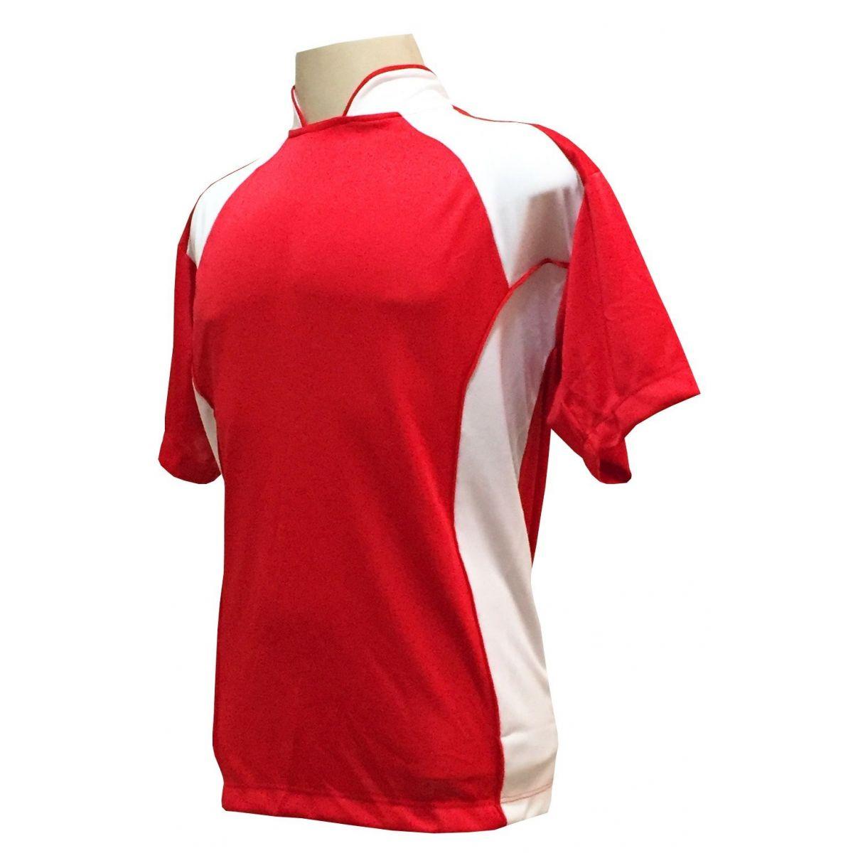 Uniforme Esportivo Completo modelo Suécia 14+1 (14 camisas Vermelho/Branco + 14 calções Madrid Branco + 14 pares de meiões Vermelhos + 1 conjunto de goleiro) + Brindes