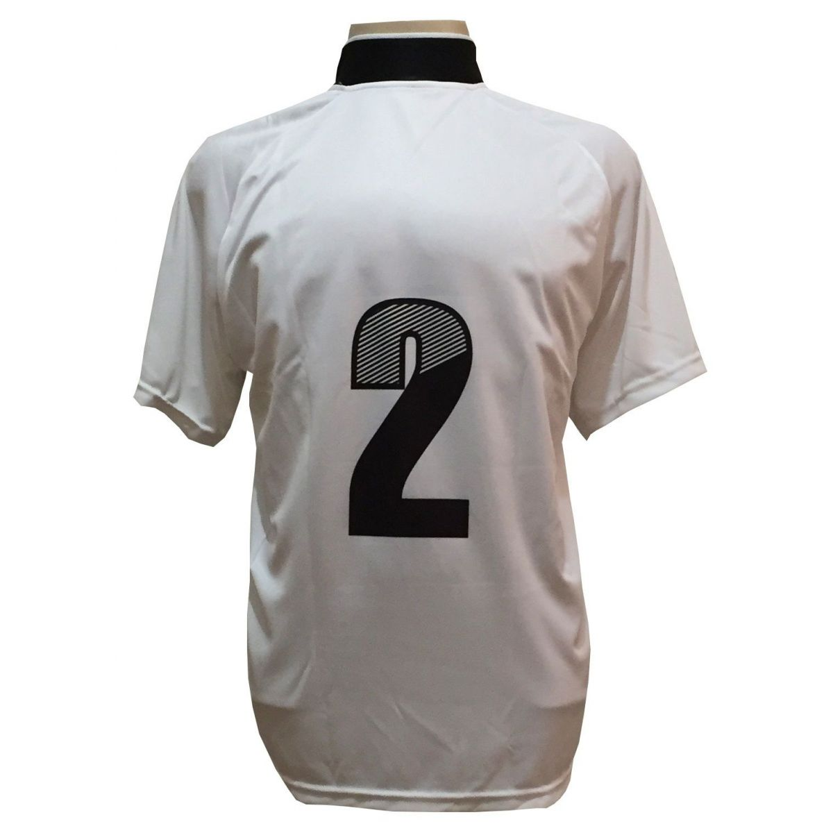 Jogo de Camisa com 18 unidades modelo Milan Branco/Preto + 1 Goleiro + Brindes