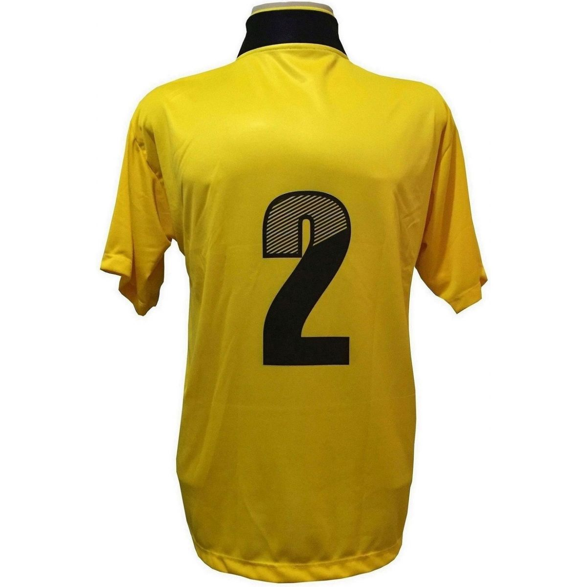 Jogo de Camisa com 14 unidades modelo Suécia Amarelo/Preto + 1 Goleiro + Brindes