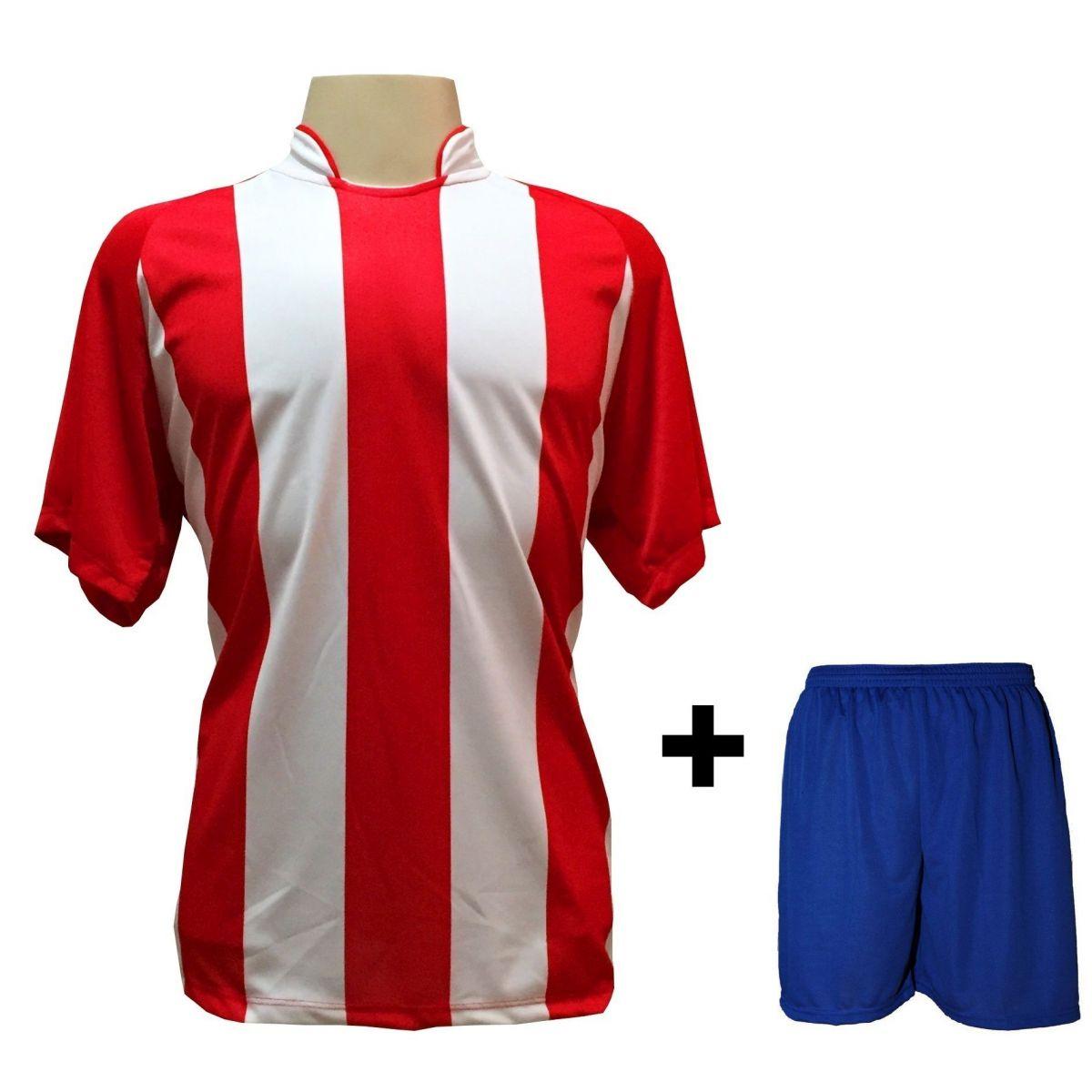 Uniforme Esportivo com 12 camisas modelo Milan Vermelho/Branco + 12 calções modelo Madrid Royal + Brindes