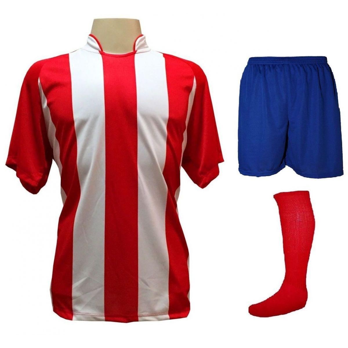 Fardamento Completo modelo Milan 18+1 (18 Camisas Vermelho/Branco + 18 Calções Madrid Royal + 18 Pares de Meiões Vermelhos + 1 Conjunto de Goleiro) + Brindes