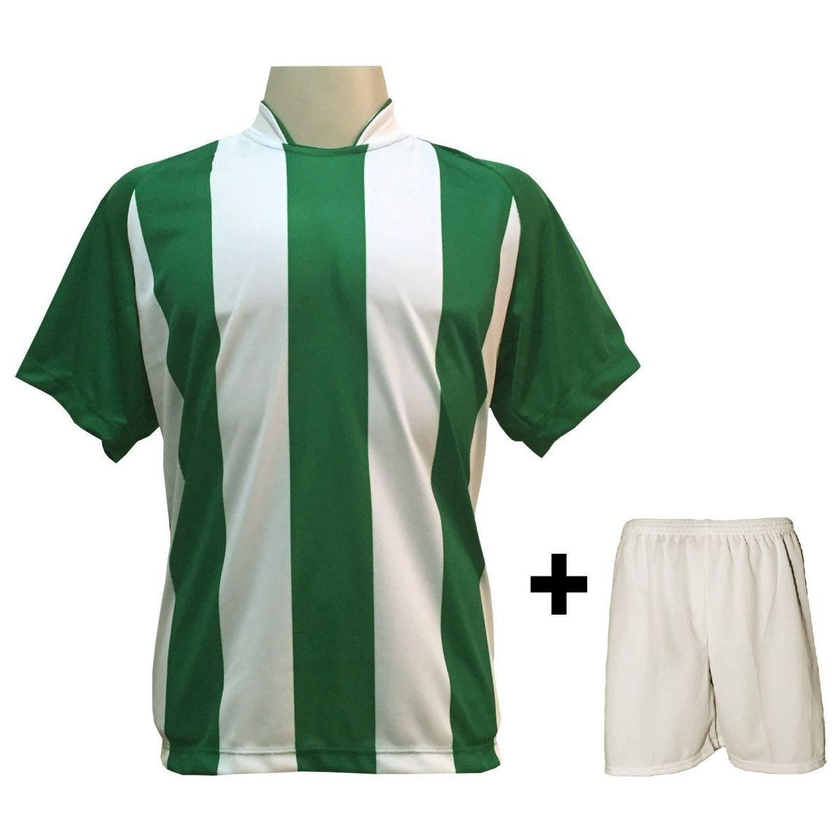 Uniforme Esportivo com 18 camisas modelo Milan Verde/Branco + 18 calções modelo Madrid Branco + Brindes
