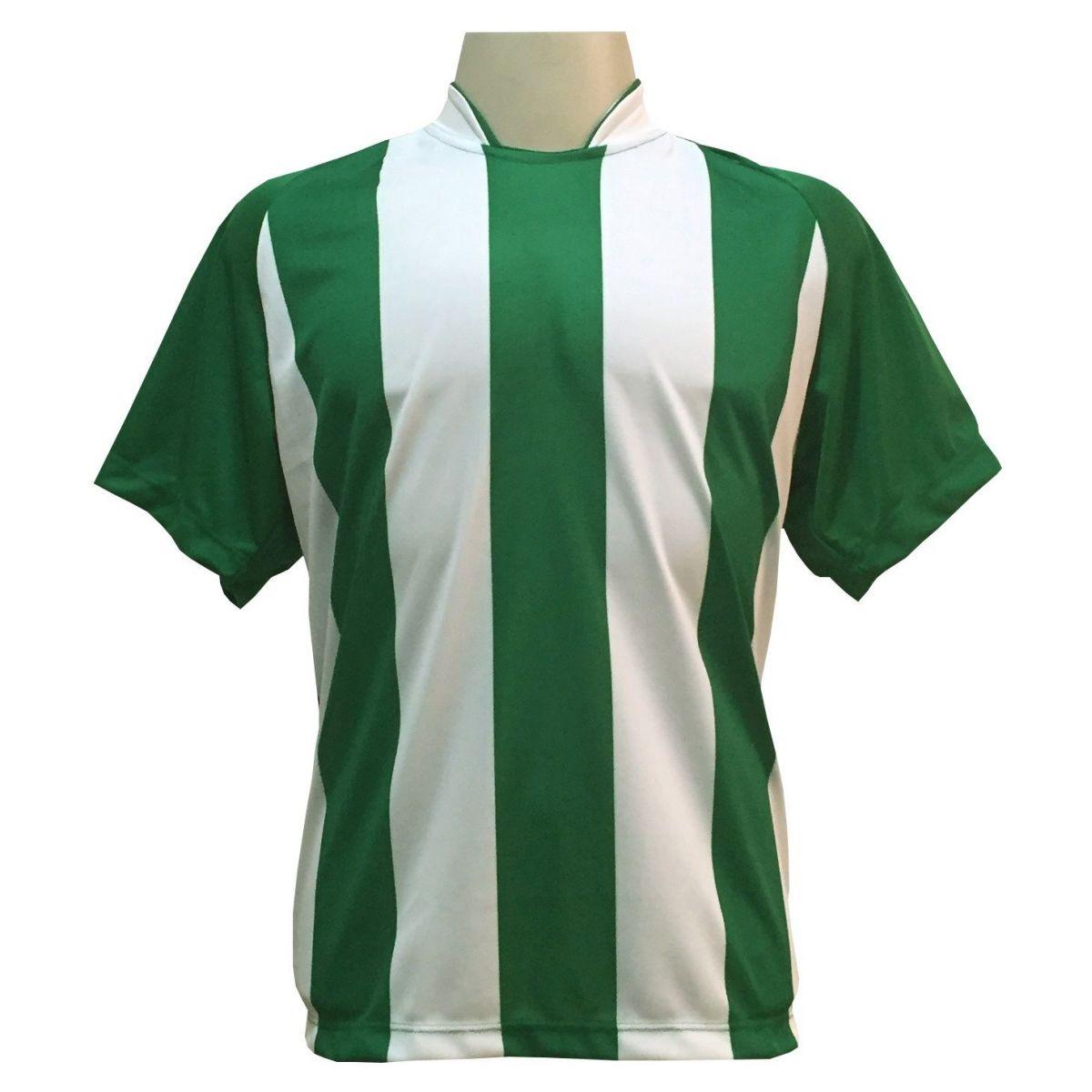 Fardamento Completo modelo Milan 18+1 (18 Camisas Verde/Branco + 18 Calções Madrid Branco + 18 Pares de Meiões Verdes + 1 Conjunto de Goleiro) + Brindes