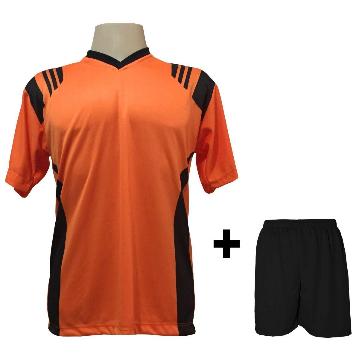 Uniforme Esportivo com 12 camisas modelo Roma Laranja/Preto + 12 calções modelo Madrid Preto + Brindes