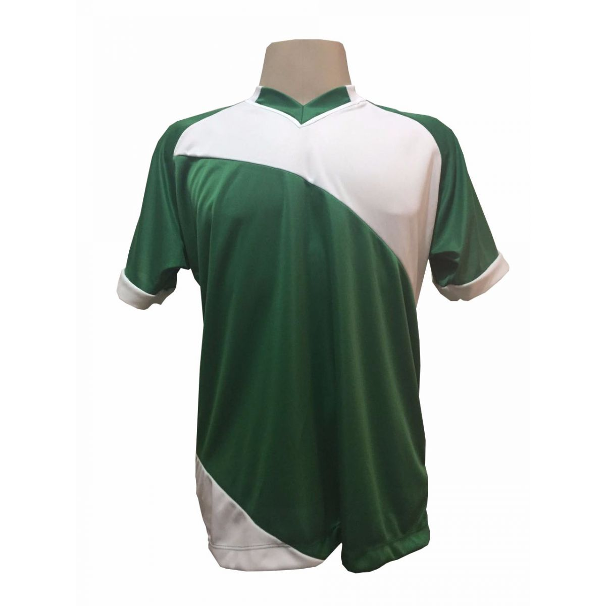 Fardamento Completo modelo Bélgica 20+2 (20 camisas Verde/Branco + 20 calções modelo Copa Verde/Branco + 20 pares de meiões Branco + 2 conjuntos de goleiro) + Brindes