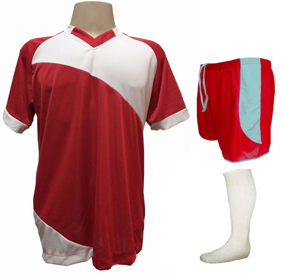 Fardamento Completo modelo Bélgica 20+2 (20 camisas Vermelho/Branco + 20 calções modelo Copa Vermelho/Branco + 20 pares de meiões Branco + 2 conjuntos de goleiro) + Brindes
