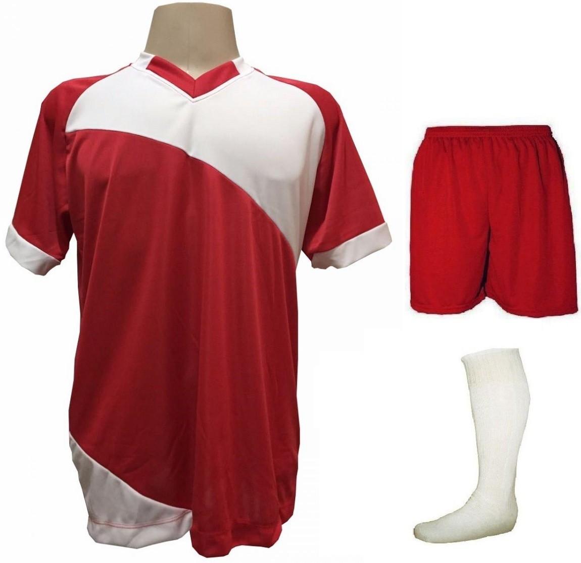 Fardamento Completo modelo Bélgica 20+2 (20 camisas Vermelho/Branco + 20 calções modelo Madrid Vermelho + 20 pares de meiões Branco + 2 conjuntos de goleiro) + Brindes
