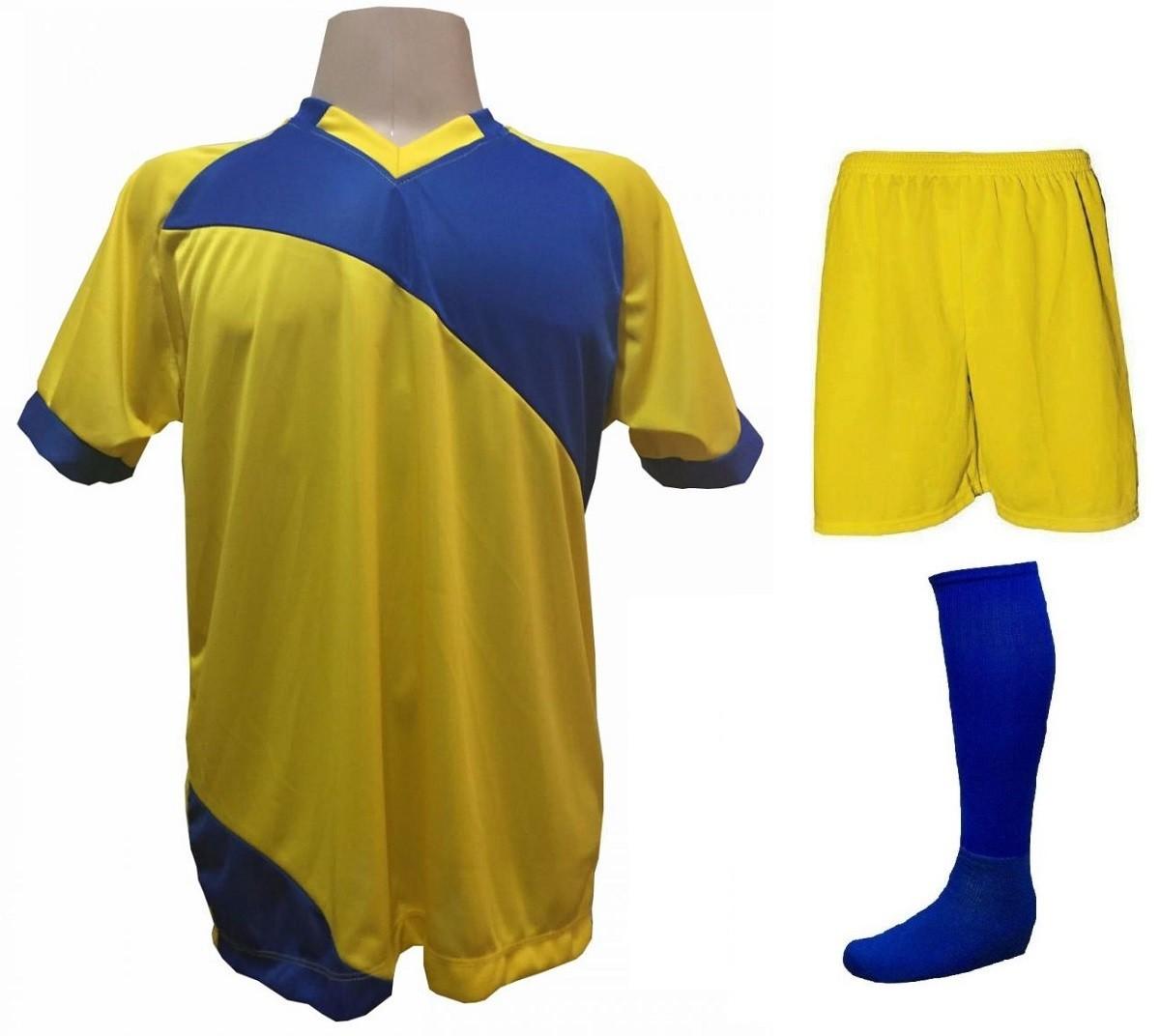 Fardamento Completo modelo Bélgica 20+2 (20 camisas Amarelo/Royal + 20 calções modelo Madrid Amarelo + 20 pares de meiões Royal + 2 conjuntos de goleiro) + Brindes