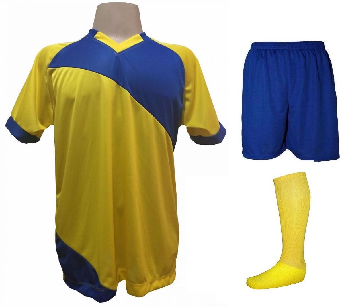 7aa36c7c42 Fardamento Completo modelo Bélgica 20+2 (20 camisas Amarelo/Royal + 20  calções ...