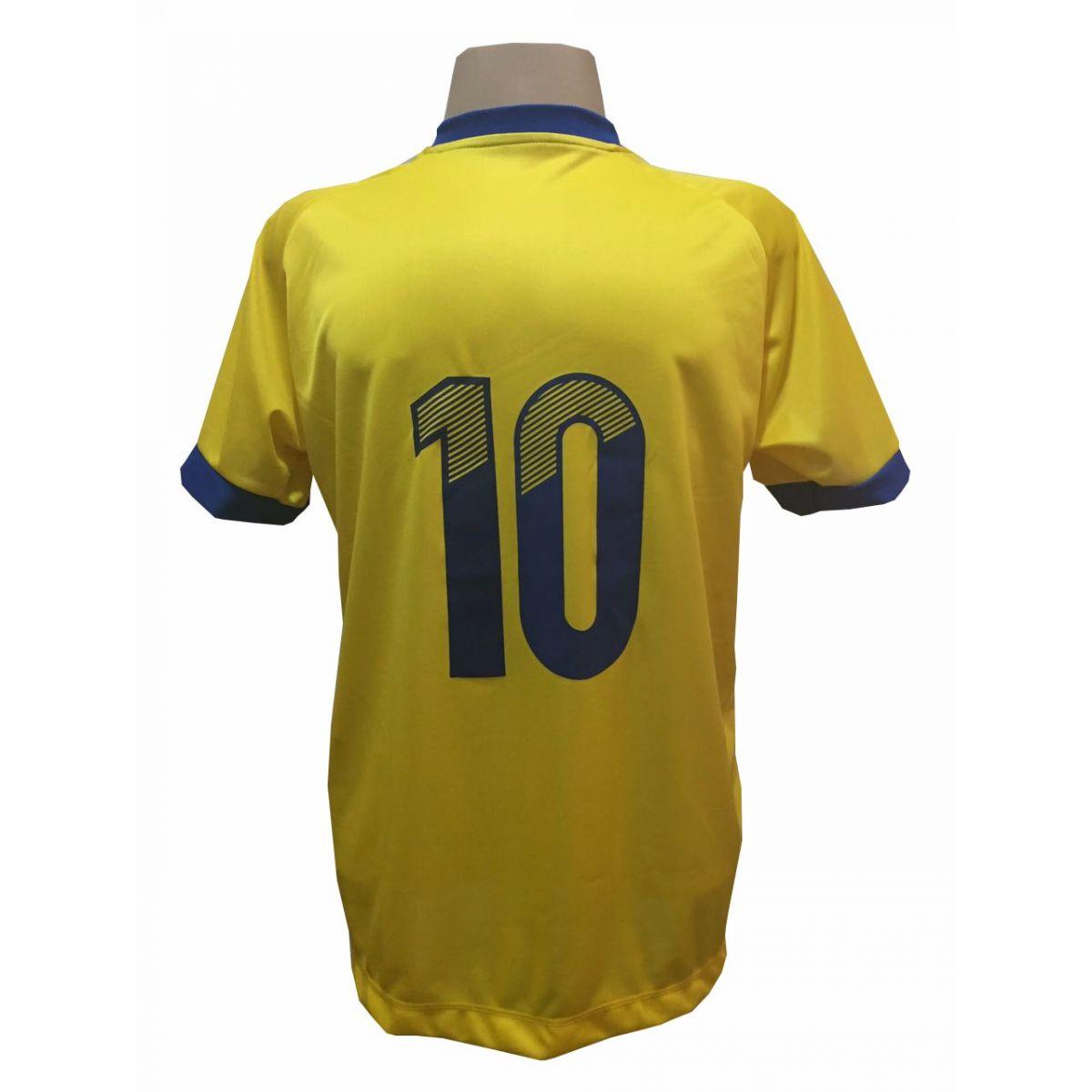 Fardamento Completo modelo Bélgica 20+2 (20 camisas Amarelo/Royal + 20 calções modelo Madrid Royal + 20 pares de meiões Amarelo + 2 conjuntos de goleiro) + Brindes