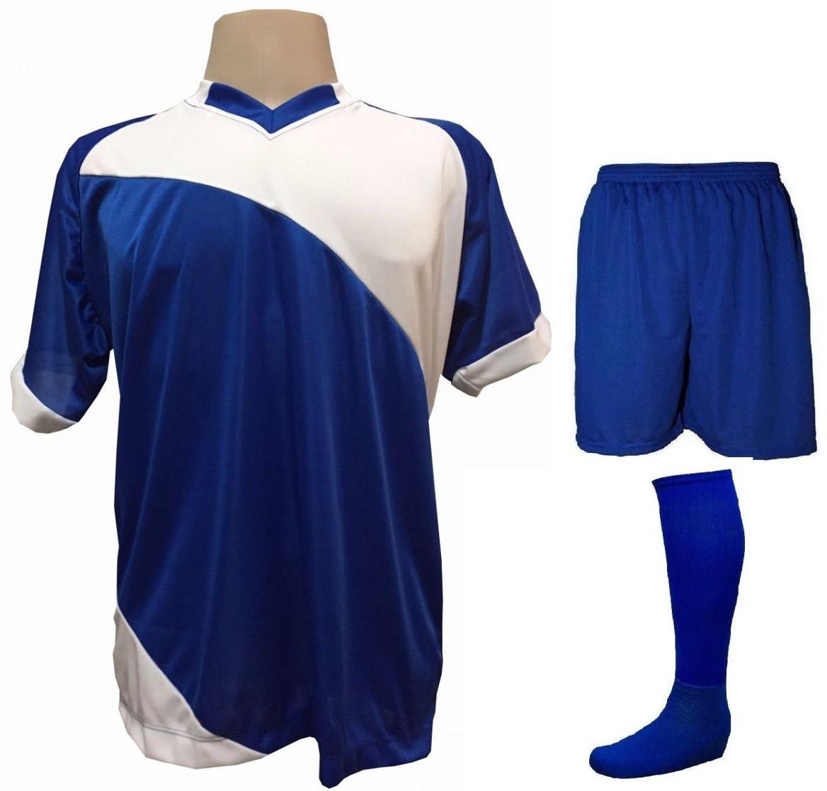 Fardamento Completo modelo Bélgica 20+2 (20 camisas Royal/Branco + 20 calções modelo Madrid Royal + 20 pares de meiões Royal + 2 conjuntos de goleiro) + Brindes