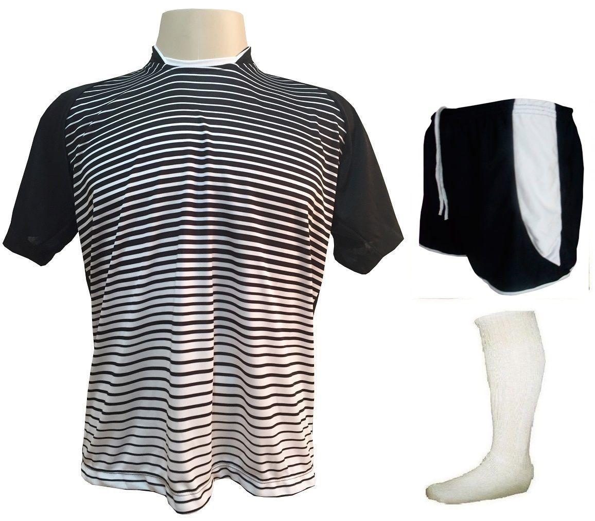 Fardamento Completo modelo City 12+1 (12 Camisas Preto/Branco + 12 Calções Copa Preto/Branco + 12 Pares de Meiões + 1 Conjunto de Goleiro) + Brindes