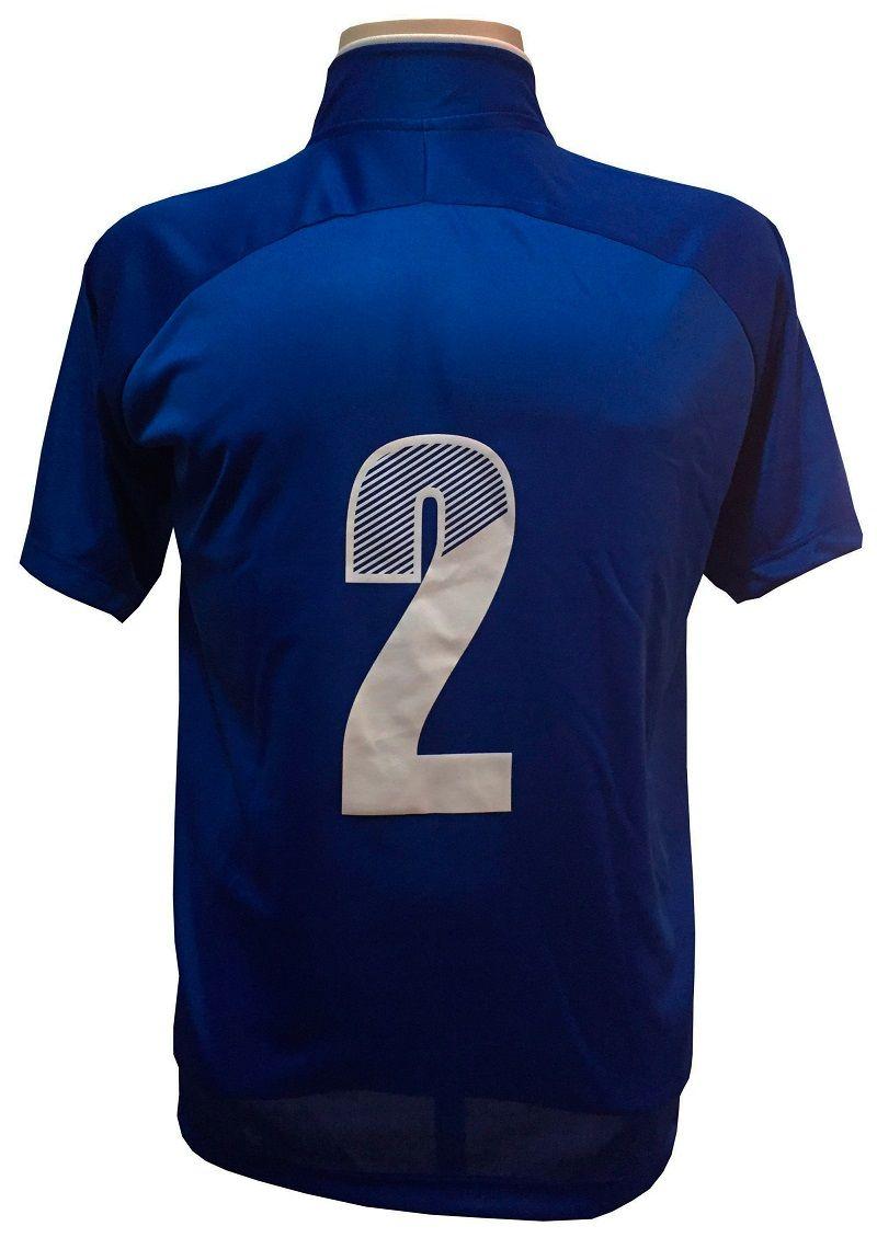 Fardamento Completo modelo City 12+1 (12 Camisas Royal/Branco + 12 Calções Copa Royal/Branco + 12 Pares de Meiões Royal + 1 Conjunto de Goleiro) + Brindes