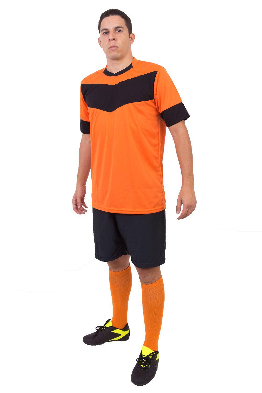 Fardamento Completo Modelo Columbus 18+1 (18 Camisas Laranja/Preto + 18 Calções Madrid Preto + 18 Pares de Meiões Laranja + 1 Conjunto de Goleiro)