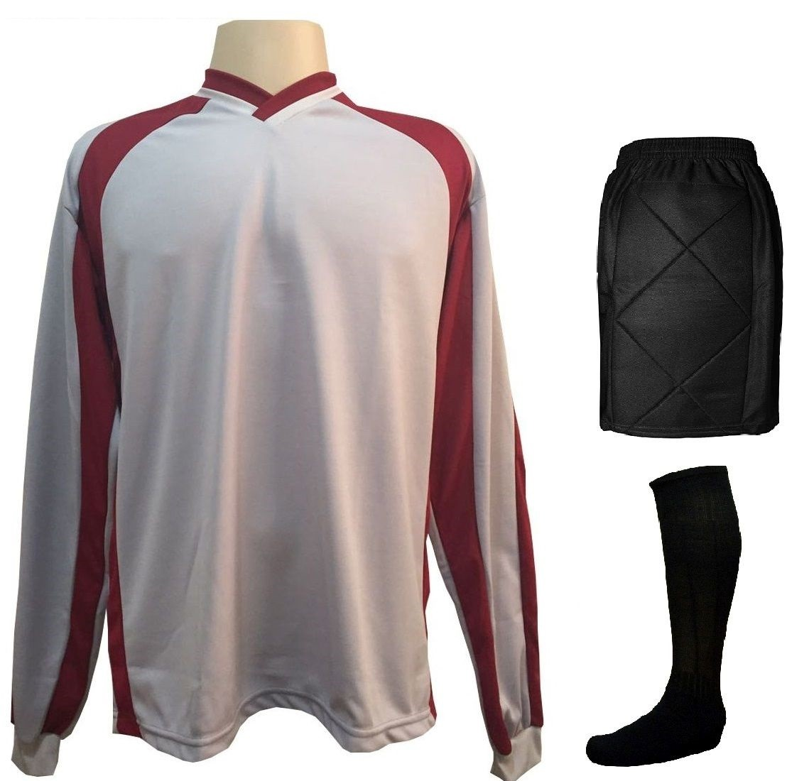 Fardamento Completo modelo Milan 12+1 (12 Camisas Branco/Preto + 12 Calções Preto/Branco + 12 Pares de Meiões Brancos + 1 Conjunto de Goleiro) + Brindes