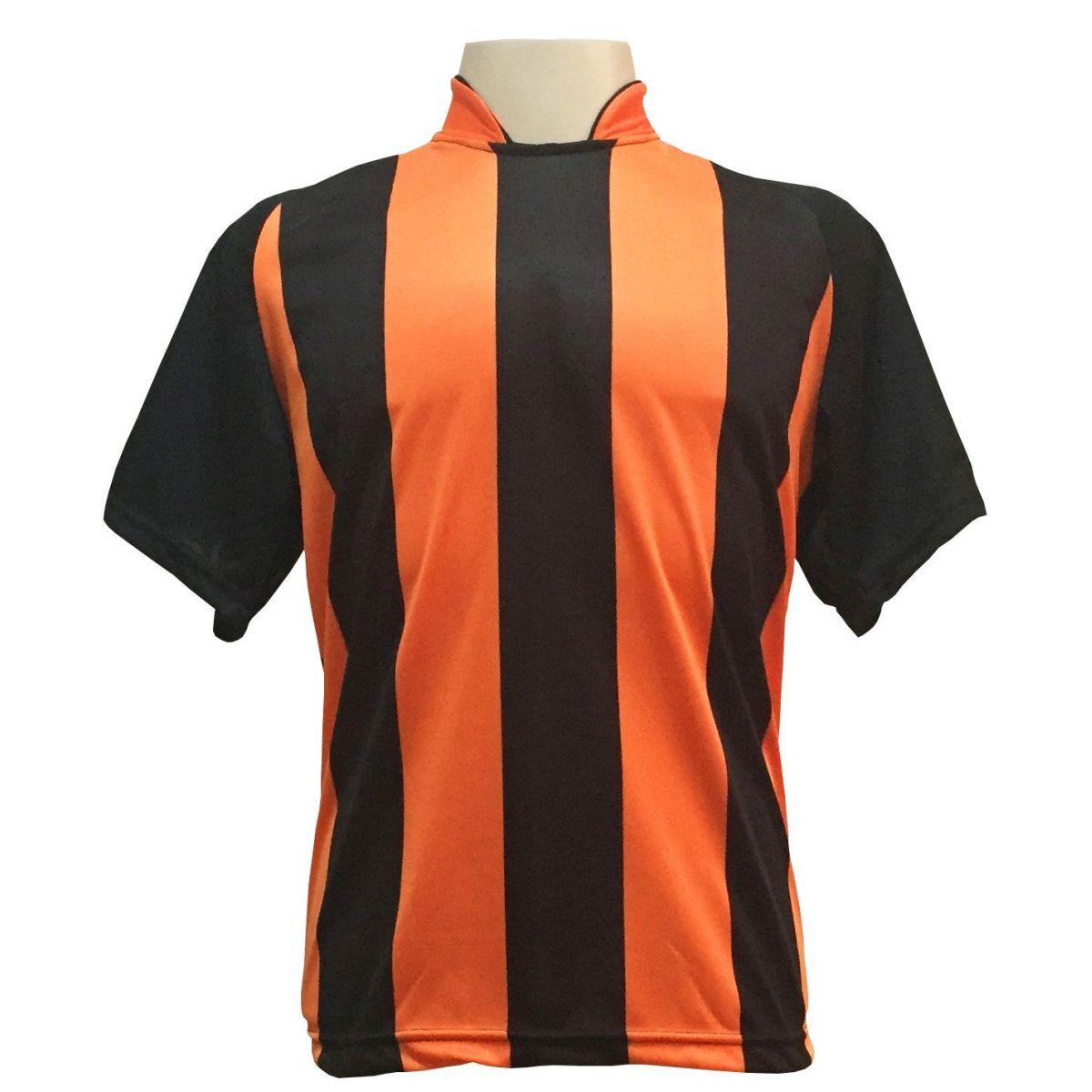 Fardamento Completo modelo Milan 20+2 (20 camisas Preto/Laranja + 20 calções modelo Madrid Preto + 20 pares de meiões Preto + 2 conjuntos de goleiro) + Brindes