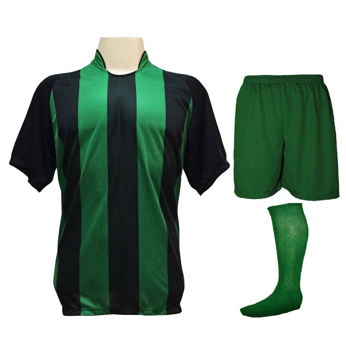 Fardamento Completo modelo Milan 20+2 (20 camisas Preto/Verde + 20 calções modelo Madrid Verde + 20 pares de meiões Verde + 2 conjuntos de goleiro) + Brindes
