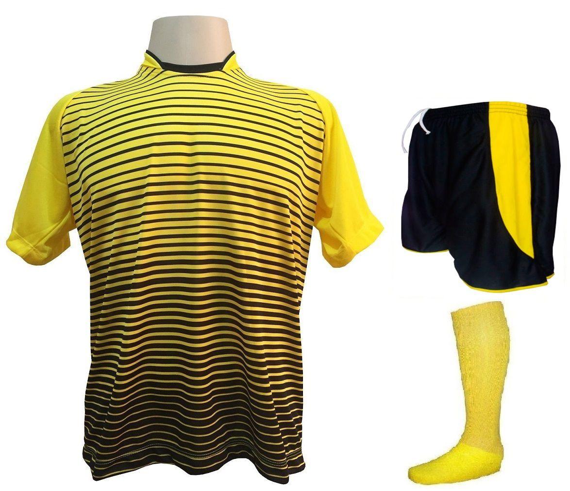 Fardamento Completo modelo City 18+1 (18 Camisas Amarelo/Preto + 18 Calções Copa Preto/Amarelo + 18 Pares de Meiões Amarelos + 1 Conjunto de Goleiro) + Brindes