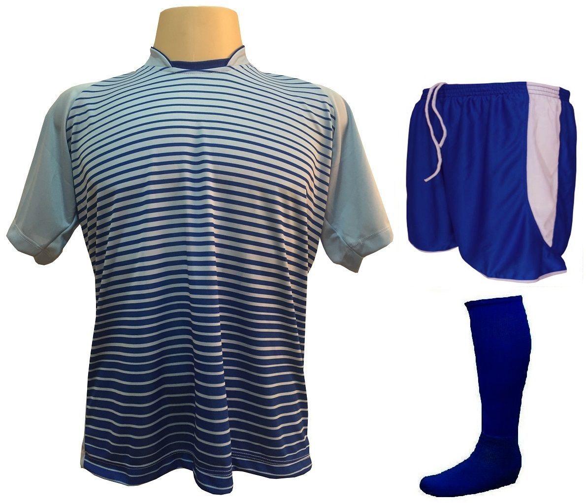 Fardamento Completo modelo City 18+1 (18 Camisas Celeste/Royal + 18 Calções Copa Royal/Branco + 18 Pares de Meiões Royal + 1 Conjunto de Goleiro) + Brindes